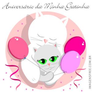 cartao de aniversario com gatinho
