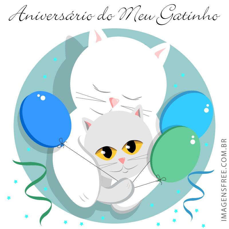Cartão de aniversário com gatinhos