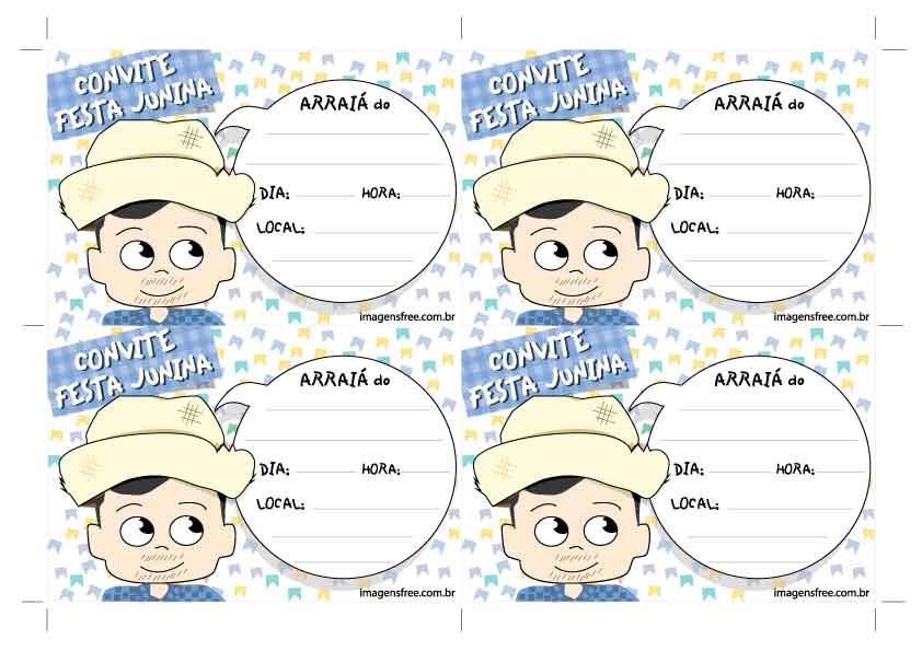 Convite de Festa Junina com desenho de menino caipira