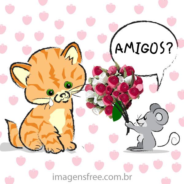 Mensagem Dia Do Amigo Com Desenho De Gato Imagens Free