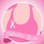 Câncer de Mama Outubro Rosa - ilustração de mulher com faixa e laço rosa