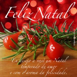 Cartão de Natal para restaurantes e blogs de culinária utilizando pimenta e ramos de alecrim