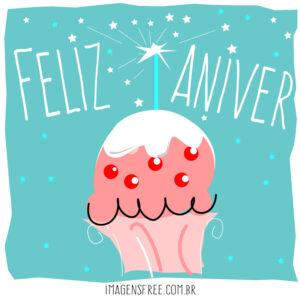 mensagens de feliz aniversario com cupcake vetor