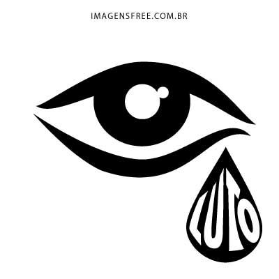 Imagem de luto com desenho de olho e lágrima