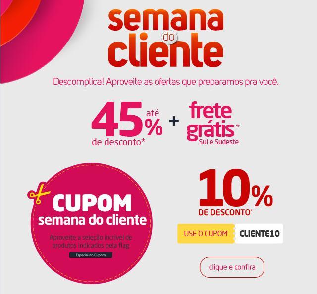 layout de Cupom de desconto da Semana do Cliente