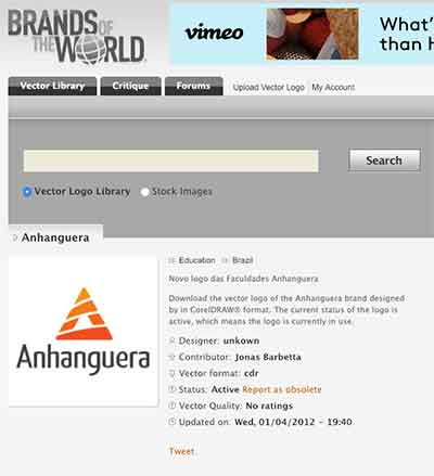 Logo Anhanguera no site Brands Of The World