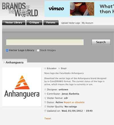 Logo Anhanguera no site Brands Of The World