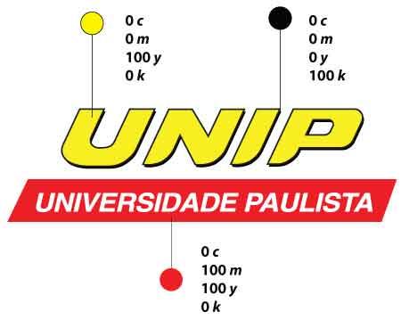 cores logo UNIP - CMYK para impressão gráfica
