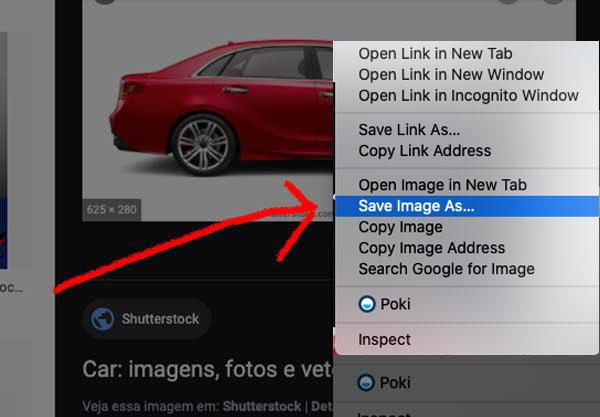 Salve a imagem do ShutterStock no seu computador