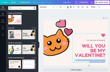 Cartão presente Dia dos Namorados no Canva