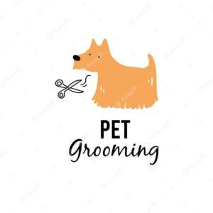Logomarca banho e tosa com desenho de cachorro