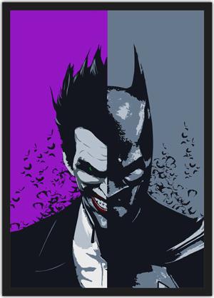 quadro do Batman e Coringa com o rosto unido