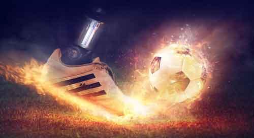 Plano de Fundo Adidas com foto de tênis chutando bola