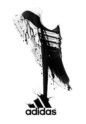 Plano de Fundo da Adidas com foto de tênis preto com tinta